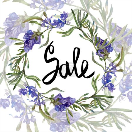Purple lavender flowers. Sale handwriting monogram calligraphy. Wild spring leaves. Watercolor background illustration. Round frame border.