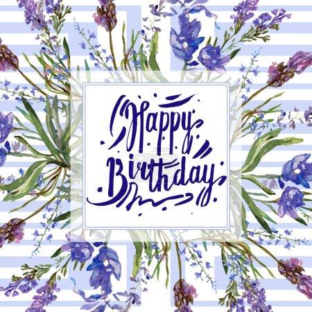 Foto de Flores púrpura de la lavanda. Feliz cumpleaños cursivo monograma la caligrafía. Flores silvestres de primavera hermosa. Ilustración de fondo de acuarela. Plaza de frontera marco - Imagen libre de derechos