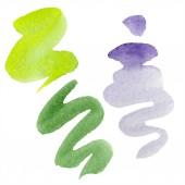 """Постер, картина, фотообои """"Зеленый, извести и фиолетовый абстрактная акварель бумага брызг изолированные на белом. Абстрактные акварель для фона, текстуры, шаблон оболочки"""""""