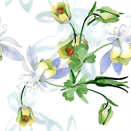 White aquilegia flowers. Beautiful spring wildflowers. Seamless background pattern. Fabric wallpaper print texture. Watercolor background illustration.