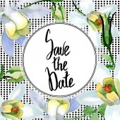 White aquilegia flowers. Save the date handwriting monogram calligraphy. Watercolor background. Beautiful aquilegia flowers drawing in aquarelle style.