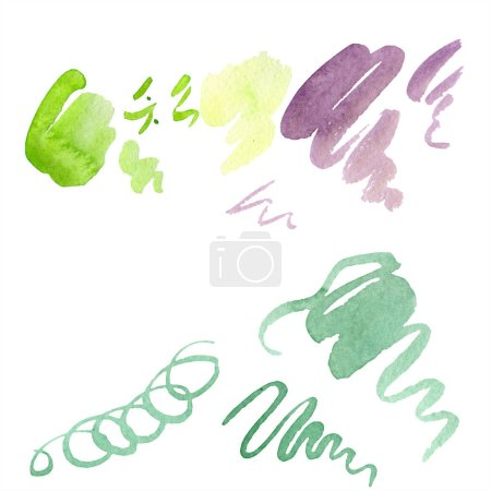 Photo for Abstract green, yellow and purple aquarelle splashes for background, texture. Watercolor background illustration set. Aquarelle hand drawing isolated stains. - Royalty Free Image