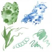 """Постер, картина, фотообои """"Абстрактный зеленый и синий акварель брызг для фона, текстуры. Акварель фон иллюстрации. «Акварель» рука рисунок изолированных облака."""""""