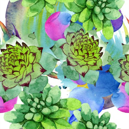 Amazing succulents. Watercolor background illustration. Seamless background pattern. Fabric wallpaper print texture.