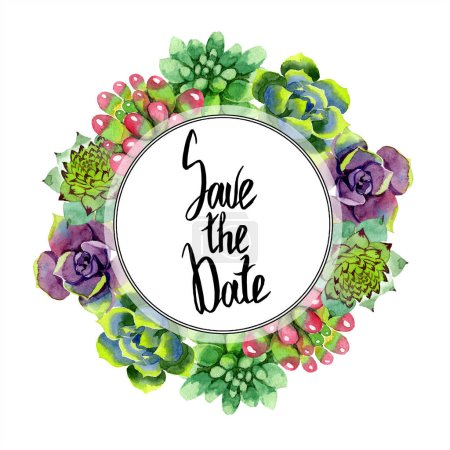 Photo for Amazing succulents. Save the Date handwriting monogram calligraphy. Watercolor background illustration. Frame border ornament wreath. Aquarelle hand drawing succulent plants. - Royalty Free Image