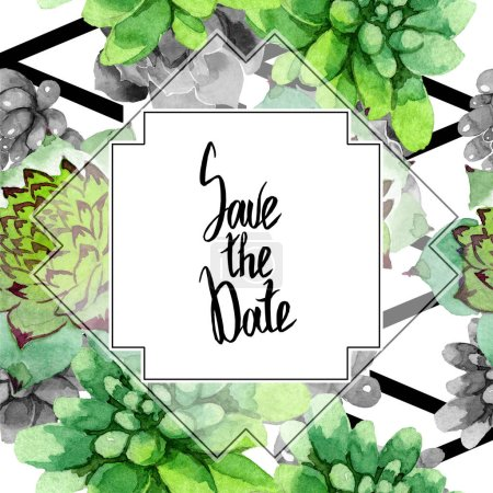 Photo for Amazing succulents. Save the Date handwriting monogram calligraphy. Watercolor background illustration. Geometric frame square. Aquarelle hand drawing succulent plants. - Royalty Free Image