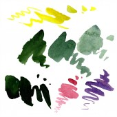 Abstract green, yellow and purple aquarelle splashes for background, texture. Watercolor background illustration set. Aquarelle hand drawing isolated stains.