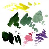 """Постер, картина, фотообои """"Абстрактный зеленый, желтый и фиолетовый акварель брызг для фона, текстуры. Акварель фон иллюстрации набора. «Акварель» рука рисунок изолированные пятна."""""""