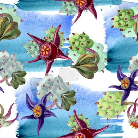 Photo for Duvalia flowers. Watercolor background illustration. Aquarelle hand drawn succulent plants. Seamless background pattern. Fabric wallpaper print texture. - Royalty Free Image