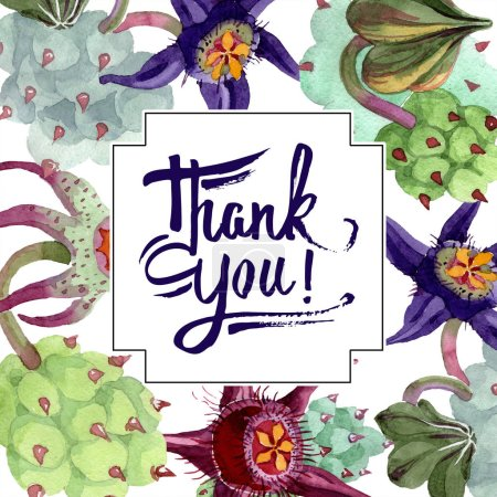 Photo for Duvalia flowers. Thank you handwriting monogram calligraphy. Watercolor background illustration. Frame square. Aquarelle hand drawing succulent plants. - Royalty Free Image