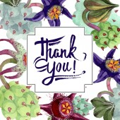 """Постер, картина, фотообои """"Duvalia цветы. Спасибо, Каллиграфические монограммы рукописного ввода. Акварель фон иллюстрации. Площадь кадра. «Акварель» рука рисунок суккулентных растений"""""""