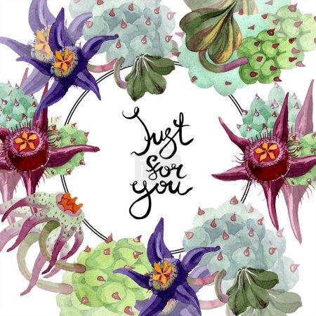 Photo pour Duvalia fleurs. Juste pour la calligraphie de la monogram écriture vous. Illustration de fond aquarelle. Main d'aquarelle dessin plantes succulentes - image libre de droit