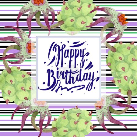 Photo for Duvalia flowers. Happy Birthday handwriting monogram calligraphy. Watercolor background illustration. Geometric frame square. Aquarelle hand drawing succulent. - Royalty Free Image