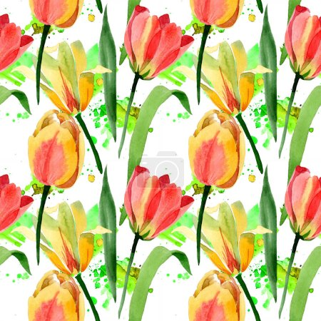 Beautiful yellow tulips with green leaves isolated on white. Watercolor background illustration. Seamless background pattern. Fabric wallpaper print texture.