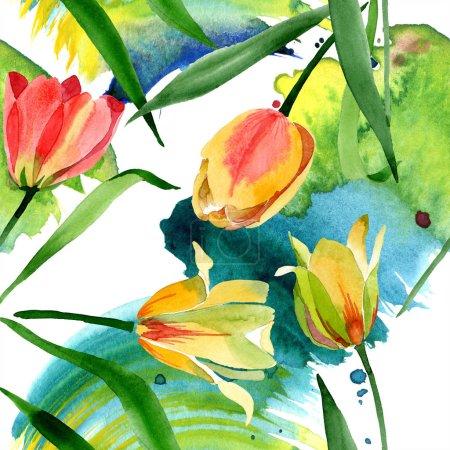 Foto de Hermosos tulipanes amarillos con hojas verdes aisladas en blanco. Ilustración de fondo de acuarela. Patrón de fondo transparente. Textura impresión de papel pintado de tela - Imagen libre de derechos