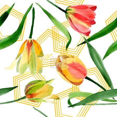 Photo for Beautiful yellow tulips with green leaves isolated on white. Watercolor background illustration. Seamless background pattern. Fabric wallpaper print texture. - Royalty Free Image