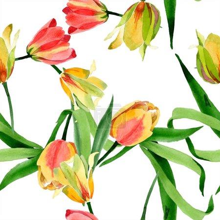 Foto de Hermosos tulipanes amarillos con hojas verdes aisladas en blanco. Ilustración de fondo de acuarela. Aquarelle de moda dibujo de acuarela. Ornamento del marco de la frontera - Imagen libre de derechos