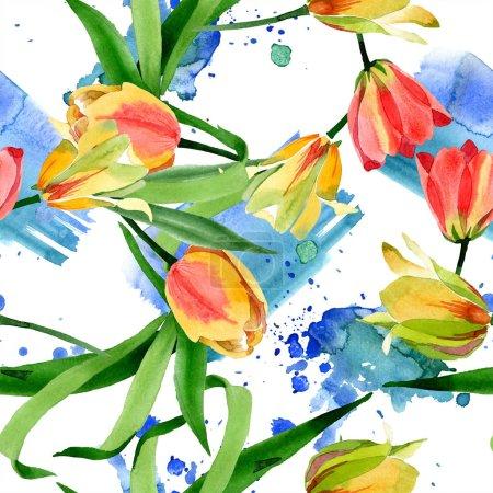 Photo pour Belles tulipes jaunes aux feuilles vertes isolées sur blanc. Illustration de fond aquarelle. Aquarelle dessin mode aquarelle. Cadre bordure ornement . - image libre de droit