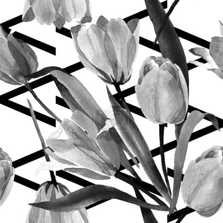 Beautiful tulips with leaves isolated on white. Watercolor background illustration. Watercolour drawing fashion aquarelle. Frame border ornament.