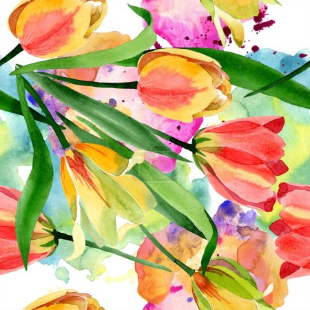 Beautiful yellow tulips with green leaves isolated on white. Watercolor background illustration. Watercolour drawing fashion aquarelle. Frame border ornament.