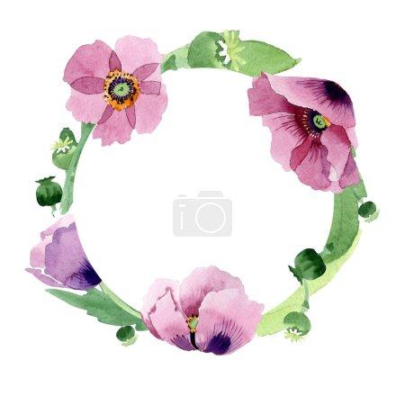 Foto de Borgoña amapolas flores aislados en blanco. Ilustración de fondo de acuarela. Acuarela Dibujo Acuarela moda aislado amapola. Ornamento del marco de la frontera - Imagen libre de derechos