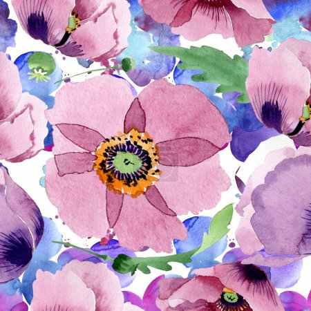 Photo for Beautiful burgundy poppy flowers. Watercolor background illustration. Seamless background pattern. Fabric wallpaper print texture. - Royalty Free Image
