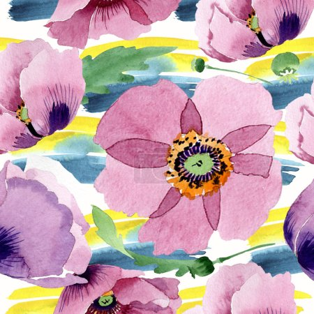 Foto de Flores de amapola Borgoña. Ilustración de fondo de acuarela. Patrón de fondo transparente. Textura impresión de papel pintado de tela - Imagen libre de derechos