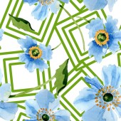 Beautiful blue poppy flowers with green leaves isolated on white. Watercolor background illustration. Watercolour aquarelle. Seamless background pattern. Fabric wallpaper print texture.