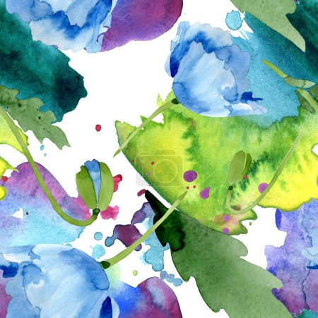 Photo for Beautiful blue poppy flowers with green leaves isolated on white. Watercolor background illustration. Watercolour aquarelle. Seamless background pattern. Fabric wallpaper print texture. - Royalty Free Image