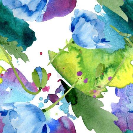 schöne blaue Mohnblüten mit grünen Blättern isoliert auf weiß. Aquarell-Hintergrundillustration. Aquarell. nahtlose Hintergrundmuster. Stoff Tapete drucken Textur.