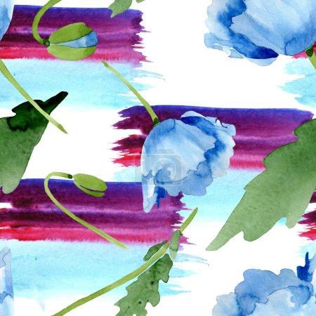 Photo pour Belles fleurs de pavot bleus avec des feuilles vert isolés sur blanc. Illustration de fond aquarelle. Aquarelle de l'aquarelle. Motif de fond transparente. Impression texture de tissu papier peint - image libre de droit
