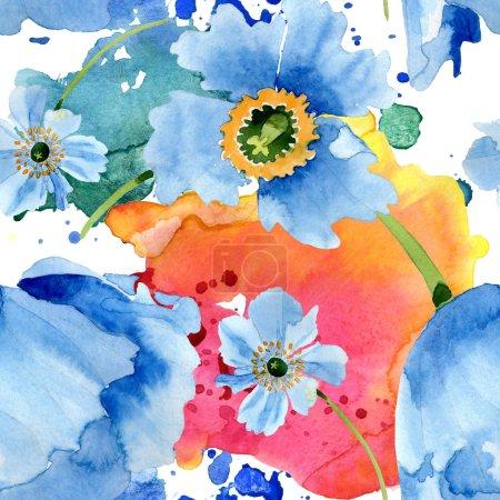 Foto de Hermosas flores de amapola azul con hojas verdes aisladas en blanco. Ilustración de fondo de acuarela. Acuarela de la acuarela. Patrón de fondo transparente. Textura impresión de papel pintado de tela - Imagen libre de derechos
