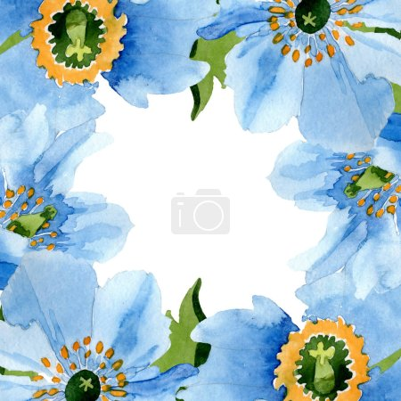 Beautiful blue poppies with green leaves isolated on white. Watercolor background illustration. Watercolour drawing fashion aquarelle. Frame border ornament background.