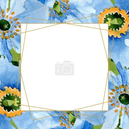 Foto de Hermosas flores de amapola azul con hojas verdes aisladas en blanco. Ilustración de fondo de acuarela. Aquarelle de moda dibujo de acuarela. Cristal de ornamento de frontera marco - Imagen libre de derechos