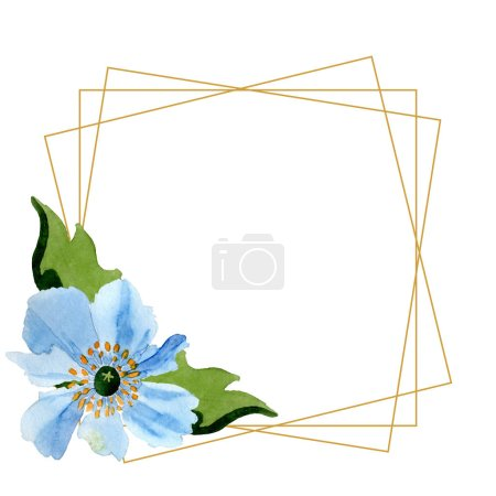Photo for Beautiful blue poppy flowers with green leaves isolated on white. Watercolor background illustration. Watercolour drawing fashion aquarelle. Frame border ornament crystal. - Royalty Free Image
