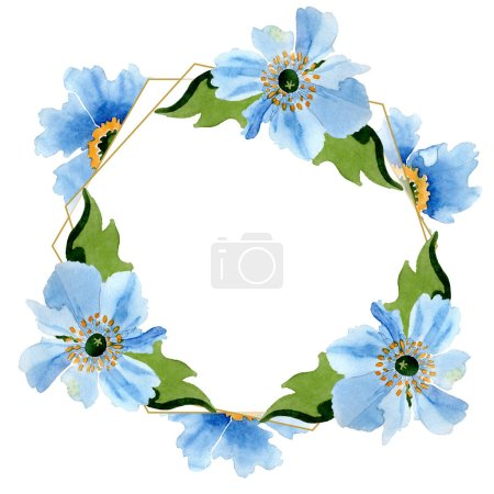 Photo for Beautiful blue poppies with green leaves isolated on white. Watercolor background illustration. Watercolour drawing fashion aquarelle. Frame border ornament background. - Royalty Free Image