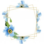 Beautiful blue poppy flowers with green leaves isolated on white. Watercolor background illustration. Watercolour drawing fashion aquarelle. Frame border ornament crystal.