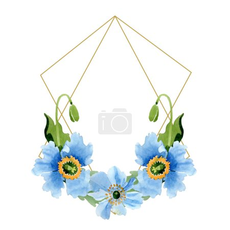Photo pour Belles fleurs de pavot bleus avec des feuilles vert isolés sur blanc. Illustration de fond aquarelle. Dessin aquarelle de mode aquarelle. Cristal de cadre bordure ornement - image libre de droit