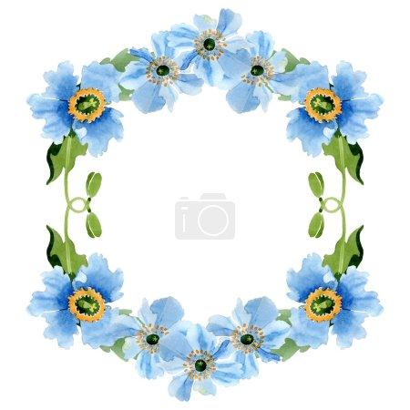 Photo pour Pavot bleu de belle avec des feuilles vert isolés sur blanc. Illustration de fond aquarelle. Dessin aquarelle de mode aquarelle. Arrière-plan de cadre bordure ornement - image libre de droit