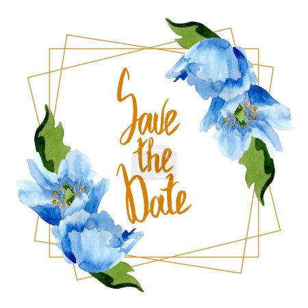 Photo for Beautiful blue poppies with green leaves isolated on white. Watercolor background illustration. Watercolour drawing fashion aquarelle. Frame border ornament background. Save the date inscription - Royalty Free Image