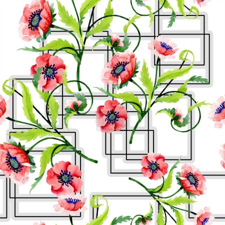 Photo for Ornament with beautiful red poppies and leaves. Watercolor background illustration. Seamless background pattern. Fabric wallpaper print texture. - Royalty Free Image