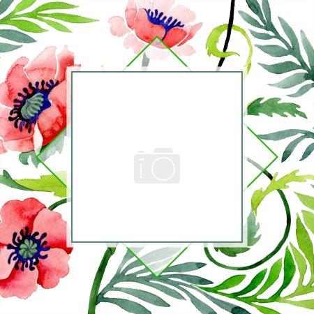 Foto de Ornamento con hermosas amapolas rojas aisladas sobre fondo blanco. Ilustración de fondo de acuarela. Aquarelle de moda dibujo de acuarela. Ornamento floral de la frontera de marco - Imagen libre de derechos