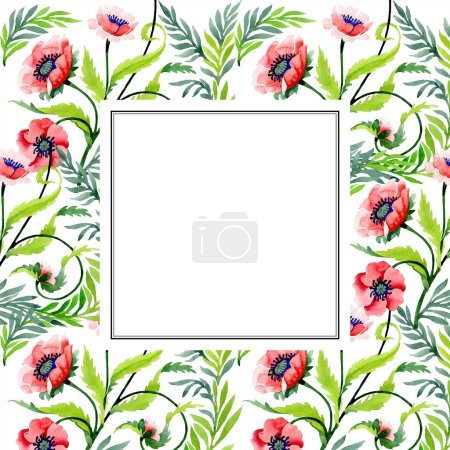 Ornament with beautiful red poppies isolated on white. Watercolor background illustration. Watercolour drawing fashion aquarelle. Frame border floral ornament.