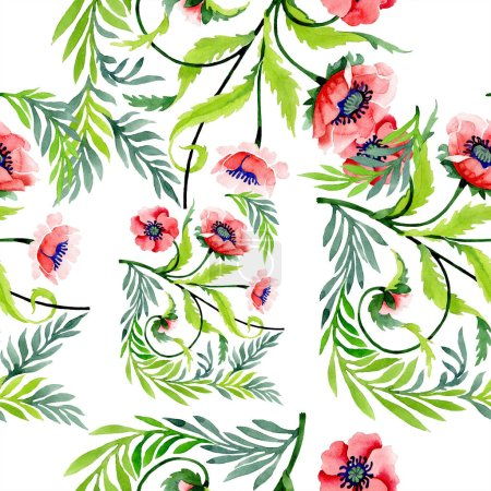 Ornament with beautiful red poppies and leaves. Watercolor background illustration. Seamless background pattern. Fabric wallpaper print texture.