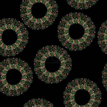 Ornamento con hermosas amapolas rojas y hojas. Ilustración de fondo de acuarela. Patrón de fondo transparente. Textura impresión de papel pintado de tela