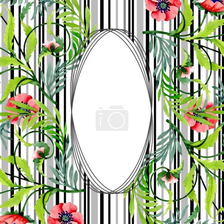 Photo for Ornament with beautiful red poppies isolated on white. Watercolor background illustration. Watercolour drawing fashion aquarelle. Frame border floral ornament. - Royalty Free Image
