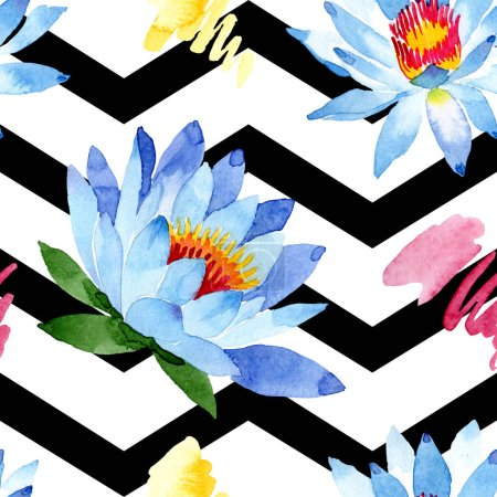 Photo pour Fleurs de lotus bleu. Illustration de fond aquarelle. Aquarelle de l'aquarelle. Motif de fond transparente. Impression texture de tissu papier peint. - image libre de droit