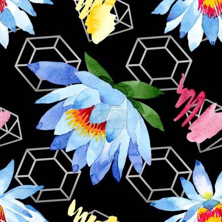 Blue lotus flowers. Watercolor background illustration. Watercolour aquarelle. Seamless background pattern. Fabric wallpaper print texture.