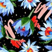 Постер Голубые цветы лотоса фон