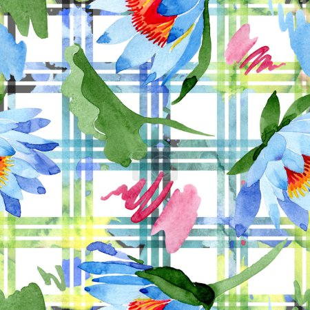 Blue lotus flowers. Watercolor background illustration. Watercolour aquarelle. Seamless background pattern. Fabric wallpaper print texture.